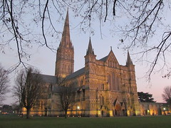 Salisbury Cathedral at dusk (pefkosmad) Tags: salisbury salisburycathedral cathedral wiltshire england uk building architecture gothic medieval spire outdoor exterior middleages cathedralclose sunset dusk evening winter