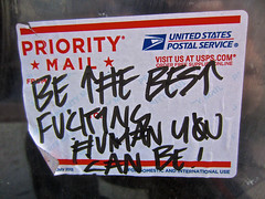 Be the Best, San Francisco, CA (Robby Virus) Tags: sanfrancisco california sticker mail you fucking can best human be slap usps priority