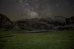 Noche en los Lagos (Trenero EFC) Tags: sky espaa lake night way de stars noche spain europa asturias lagos via cielo pico estrellas milky covadonga lactea