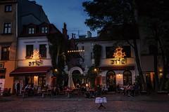 Ariel, Szeroka, Kraków, Poland (deborahmoynihan) Tags: travel building ariel architecture night lights restaurant outdoor poland jewish quarter kraków kazimierz szeroka