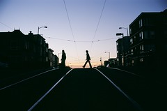 Evening Crossing (Robert Ogilvie) Tags: nikonf100 kodakektar100