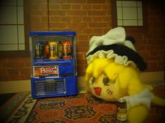 Coffee Time. (Human-Faced Bun & Honey Pudding) Tags: house brick coffee felting machine can needle soda vending