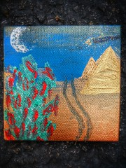Ancient Desert Sacred Spices (ThePolaroidGuy [CensoredϟRestricted]) Tags: ed edward drake edwarddrake edwarddrakemfa desert painting pyramids chilipeppers road tracks sand moon crescentmoon copper blue sky stars glitter ankh aliens egyptian gold green red texture acrylic square hiddenimage hidden craters trails ufo lighttrail night nightsky ancient spice golden interference peppers mystical earth nature sacred masterphotographer thepolaroidguy canvas refraction refractedlight