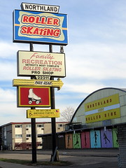 Northland Roller Skating (yooperann) Tags: road city urban classic sign shop vintage northwest michigan side skating detroit roller rink tall northland eight mile