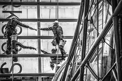 Team work (tootdood) Tags: canon70d blackandwhite streetcandid candid manchester corporation street team work window cleaners reflection