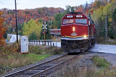 autumn, northland lake (twurdemann) Tags: agawacanyontourtrain algomacentralrailway autumn canadiannationalrailway cn106 emdf40phr fall2016 fallcolor fallcolour forest fujixt1 highway552 landscape levelcrossing locomotive nikcolorefex northernontario ontario passengertrain railroad railway rain scenic tonalcontrast traintracks trees weather xf55200mm