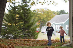 Following his leaf path (grilljam) Tags: ewan 7yrs autumn october2016 seamus 4yrs leaves awavypaththroughtheleaves