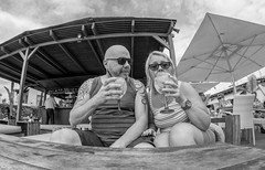 Sipping the Sangria. (CWhatPhotos) Tags: cwhatphotos camera photographs photograph pics pictures pic picture image images foto fotos photography artistic that have which contain with olympus four thirds 43 spanish spain mallorca majorca island october 2016 weather alcudia sangria drink champagnesangria alcohol pub bar together two couple happy smilers smile smiles black white mono monochrome samyang fisheye fish eye lens wide angle view