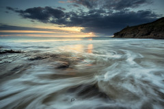 Rinsey beach (T_J_P) Tags: cornwall rinsey beach sand cove rocks cliffs sunset tide tidal movement coast shore sea sky clouds nature beauty