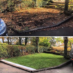 """Front garden tidy up today. Removed the old brickwork path that was under the layer of old leaf mulch and soil. Levelled the existing sleepers. Laid a single row of slabs so the customer has somewhere firm to stand when getting in and out of the car. Lawn <a style=""""margin-left:10px; font-size:0.8em;"""" href=""""http://www.flickr.com/photos/137723818@N08/30244779793/"""" target=""""_blank"""">@flickr</a>"""