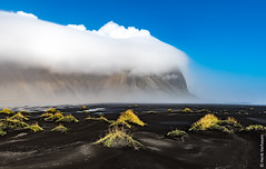 Iceland - Vestrahorn in clouds (Henk Verheyen) Tags: ijsland iceland vestrahorn autumn buiten fotoreis herfst landscape landschap nature natuur is outdoor cloud clouds gras black beach sky