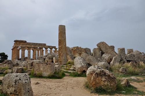 Selinunte (Sicilia-Italia). Templo E o de Hera visto desde el templo F
