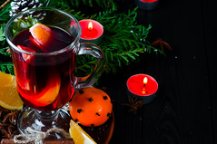 Mulled wine for Christmas Eve celebration party by  tree. (lyule4ik) Tags: wine mulled holiday hot christmas spice background tree branch pine wooden warm decoration table slice red punch festive orange fir cinnamon made roll green craft sweet decorated seasonal magic bright glass grog badiana xmas shape tray fruit spiced cup stars baked beautiful alcohol ornaments sticks drink vintage food beverage decor