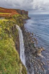 Vertigo (jbarc in BC) Tags: waterfall isleofskye scotland coast ocean sea cliff vertical vertigo beach rocks grass heather storm rain