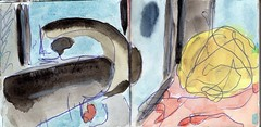 Jedem, der gewillt ist, das Haus zu verlassen, muss gewahr sein, dass sich die Welt jederzeit verndern kann. Das muss nicht zu seinem Vorteil gereichen (raumoberbayern) Tags: sketchbook skizzenbuch tram munich mnchen bus strasenbahn pencil bleistift ballpoint paper papier robbbilder stadt city landschaft landscape spring frhling summer sommer lake trip bavaria germany airport nrnberg italiener kugelschreiber