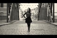 * (Henrik ohne d) Tags: eos5dmk2 ef85mmf18 november2015 portrait vanessa skirt pavement cobbles bridge irongirder