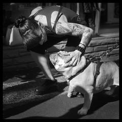 ✜ (Ebanator) Tags: tattoo inked dog bulldog tattoos monochrome nikond200 chinon3528 chinon35mmf28 m42lens fairlawnnj street streetphotography