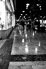 City lights (Nikon F801) (stefankamert) Tags: stefankamert street city lights rain reflections blackandwhite blackwhite schwarzweis town noir noiretblanc monochrome mono dof people nikon f801 nikonf801 n8008 ilford hp5 voigtlnder ultron 35mm film analog black night