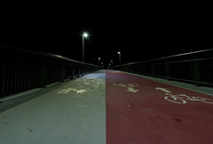 A bridge to the... Darkness (modestmoze) Tags: bridge night evening alytus lithuania outside outdoors out 500px 2016 autumn october nightphotography architecture explore travel path lines red brown white grey light railings shining shadows dark darkness black view angle walking hill round