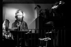 Jimi Hendrix (Ivo Kreber) Tags: jimi hendrix legend blackandwhite eyes girl man cafe bar wall painting art artist musician