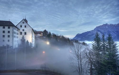 Pfäfers Abbey over sea of fog
