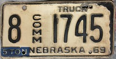 NEBRASKA 1969 ---COMMERCIAL TRUCK 5 TON LICENSE PLATE (woody1778a) Tags: nebraska usa truck licenseplate numberplate registrationplate commercialvehicle license mycollection myhobby