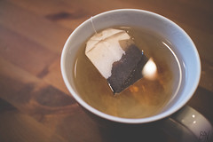 337/366 (varonille) Tags: tea earlgrey teabag cup teacup dark wood