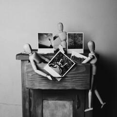 Polaroids (Marek Kalich) Tags: blackandwhite polaroid polaroids simple wooden bro memories vintage fun joy fineart friends shadows light indoors home