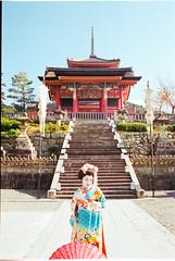 The stairway to the temple (jasonkb) Tags: woman mountain film girl japan garden temple japanese costume dress pentax buddhist traditional hill religion steps surreal peaceful staircase geisha kimono mz50 bushido kodak100