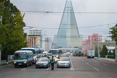 Pyongyang crossroad with Ryugyong Hotel (bvoneche) Tags: kp pyongyang coredunord