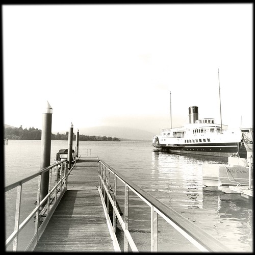 The jetty and Maid of the Loch Paddlesteamer - Balloch, Loch Lomond, Scotland