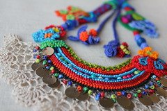 beaded crochet statement necklace - with orange, red, blue and green beaded flowers and cream crochet lace by irregularexpressions (irregular expressions) Tags: necklace jewelry wearableart fiberart fiber beaded textileart seedbeads beadednecklace beadcrochet freeformcrochet delicabeads crochetnecklace beadedcrochet crochetart lacenecklace beadedlace irregularexpressions statementnecklace fibernecklace textilenecklace statementjewelry freeformcrochetnecklace crochetlacenecklace beadedcrochetnecklace