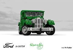 Ford 1932 Custom Tudor V8 - Kermit the Frog (lego911) Tags: ford 1932 1930s classic v8 tudor kermit frog custom kustom usa america auto car moc model miniland lego 911 ldd render cad povray lugnuts challenge 109 deuceswild deuces wild lego911