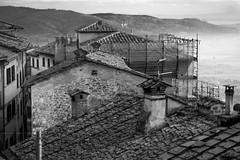 architectural forms and movements, mountains, fog, Cortona, Tuscany, Italy, Nikon D40, nikon nikkor 55mm f-3.5, 12.8.15 (steve aimone) Tags: blackandwhite italy mountains fog architecture monochromatic architectural tuscany cortona movements latelight primelens nikond40 nikonprime architecturalforms nikonnikkor55mmf35
