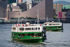 Silver Star & Day Star (TommyYeung) Tags: city travel vacation classic ferry relax hongkong harbor cityscape afternoon harbour transport central clocktower starferry ferries tsimshatsui silverstar victoriaharbour victoriaharbor daystar hongkongculturalcentre hongkongtransport