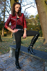 Lena 38 (The Booted Cat) Tags: sexy girl leather high model highheels boots jeans jacket heels tight