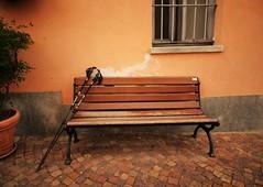 HBM in Italy. (France-) Tags: 133 italie banc bench hbm bois baton italy europe roddi piedmont piedmonte lelanghe wall mur walkingsticks