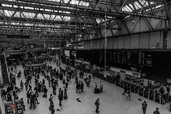waiting..... (Ntino Photography) Tags: terminal victoriatrainstation people clock canon600d sigma1020mm indoors london uk building blackandwhite monochrome waiting passengers