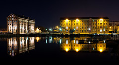 Gloucester Quay (technodean2000) Tags: nikon d610 lightroom uk gloucester quay england night nightscape d5300 canal boat reflection road skyline architecture city victoria warehouse building complex outdoor