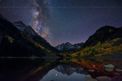 Milky way over Maroon Bells Colorado, Fall (wisanuboonrawd) Tags: airglow astronomy astrophotography beautiful clear colorado colorful dark fall famous foliage landscape leaf maroonbells maroonlake milkyway mountain natural nature outdoor park peak reflection rocky sky snow spot still surface tourism water winter yellow aspen