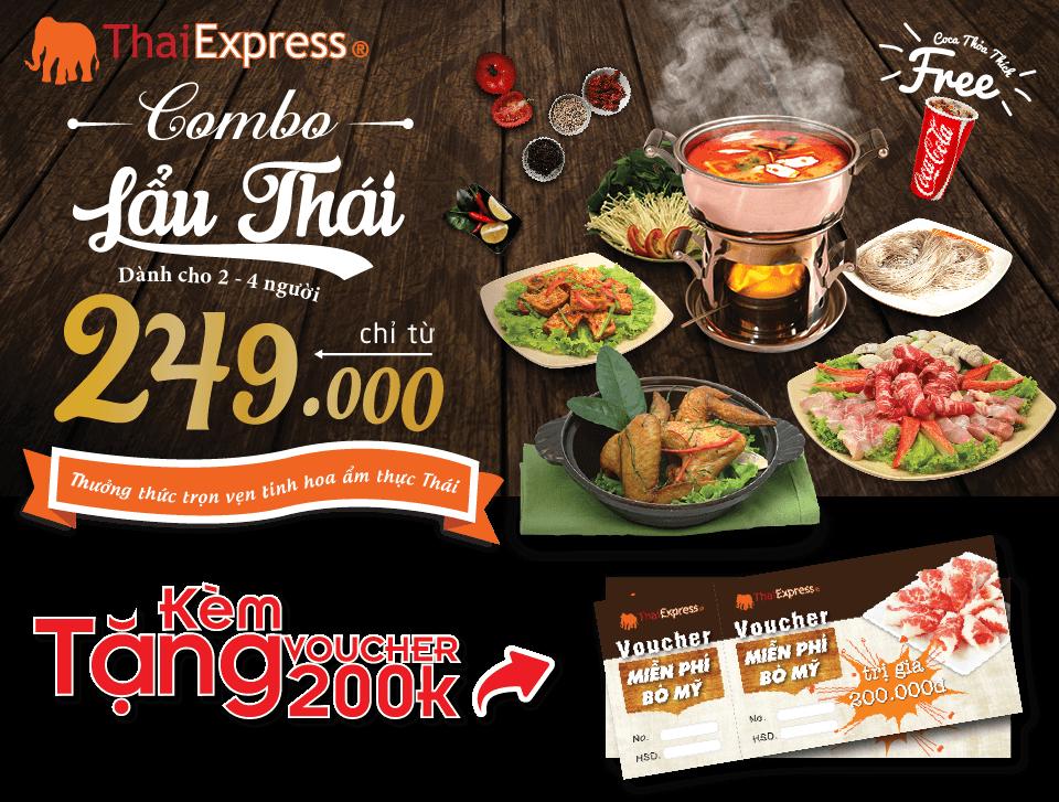 Combo lẩu tặng kèm voucher bò mỹ | thaiexpress.vn