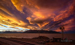 This really happened (Traylor Photography) Tags: alaska canvas sunrise mudflats mountains tracks clouds inlet surreal distance turnagainarm reflection train colors sky dramatic sewardhighway kenaipenisula cookinlet railroad anchorage unitedstates us
