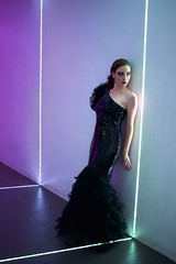 Walk the Line (daphnemir) Tags: light lighting space installation spotlight glow led tape fashion james turrell turell hallway cyber cyborg future futurist ballgown gradient ombre purple cyan white ex machina android girl model models little tokyo los angeles downtown canon pancake low found urban