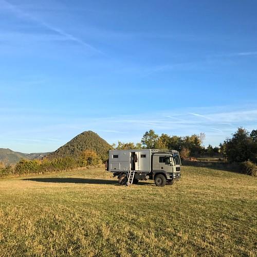 #morning in ftriont of #volcaniccore in #cevennes , #france : #homeiswhereyouparkit #adventuremobile #outsideisfree #europeanoverlanding #overlanding #camperlife #vanlife #trucklife #adventure #4x4