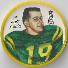 1964 Nalley's Potato Chips CFL Plastic Football Coin (type 2 back) - LYNN AMADEE #41-N (Edmonton Eskimos / Canadian Football League) (Baseball Autographs Football Coins) Tags: 1964 nalleys football coins caps footballcoins footballcaps bclions britishcolumbialions edmontoneskimos calgarystampeders saskatchewanroughriders winnipegbluebombers blank back blankback cfl canadianfootballleague potatochips vintage type1 type2 errorback lynnamadee