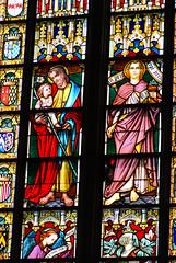 Joseph and child (quinet) Tags: 2014 belgium bruges glasmalerei joseph stainedglass vitrail antwerp flanders