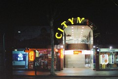 City Mark (goodfella2459) Tags: nikon f4 af nikkor 50mm f14d lens cinestill 800t 35mm c41 film analog colour citymark shops sign lights night streets sydney milf