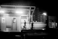 (vibraion) (Dinasty_Oomae) Tags: lomo  smena8m 8m  blackandwhite bw monochrome outdoor   chiba   nagareyama  station  platform  musashinoline