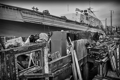 When It All Gets Too Much (Fourteenfoottiger) Tags: junk recycling houseboat boat mono blackandwhite candid people messy hoarder collecting