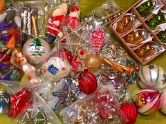 BRIC-A-BRAC:  A huge collection of antique Christmas ornaments.